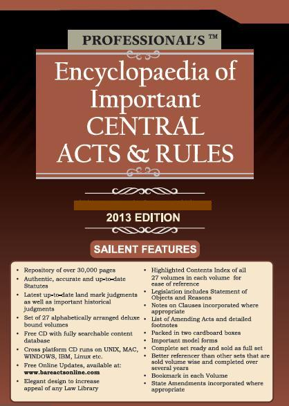 Encyclopaedia of Important Central Acts & Rules in 32 Volumes (Deluxe Binding with Free CD)
